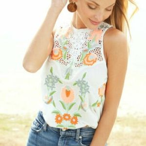 Free People Flower Power Embroidered Lace Top L